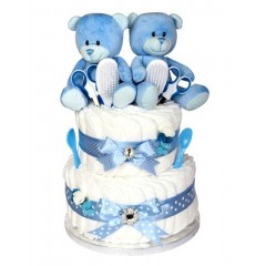 Signature Two Tier Twin Boys Nappy Cake  /  Newborn Twin Gifts / Twin Baby Gifts