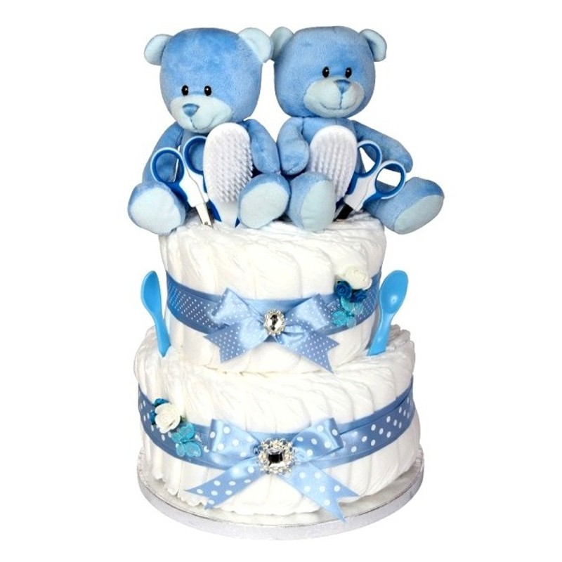 New Born Baby Boy Gifts Uk : Signature two tier twin boys nappy cake newborn