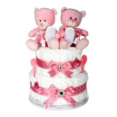 Signature Two Tier Twin Girl Nappy Cake  / Nappy Cake Twin Girls / Twin Baby Gifts