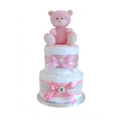 Sparkle  Diamante Two Tier Girls Nappy Cake  / Baby Shower Gifts / Pink Nappy Cake